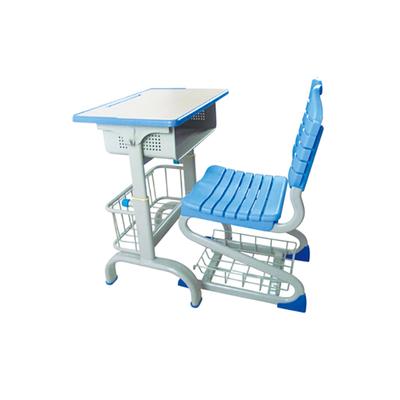 中小学单柱旋钮升降塑料课桌椅