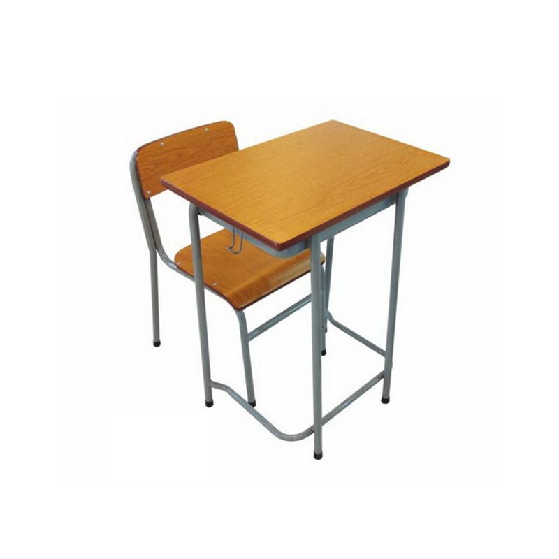 大学生单人四脚单层固定课桌椅