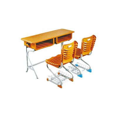 中小学双人R型单层固定塑钢课桌椅