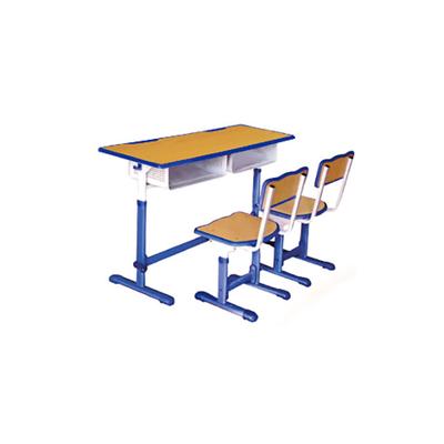 中小学双人单柱单层手摇升降课桌椅