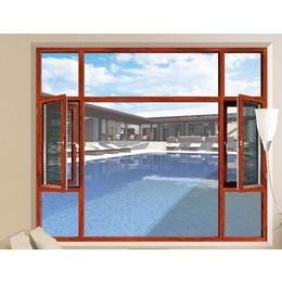 红色平开断桥铝卧室门窗缩略图