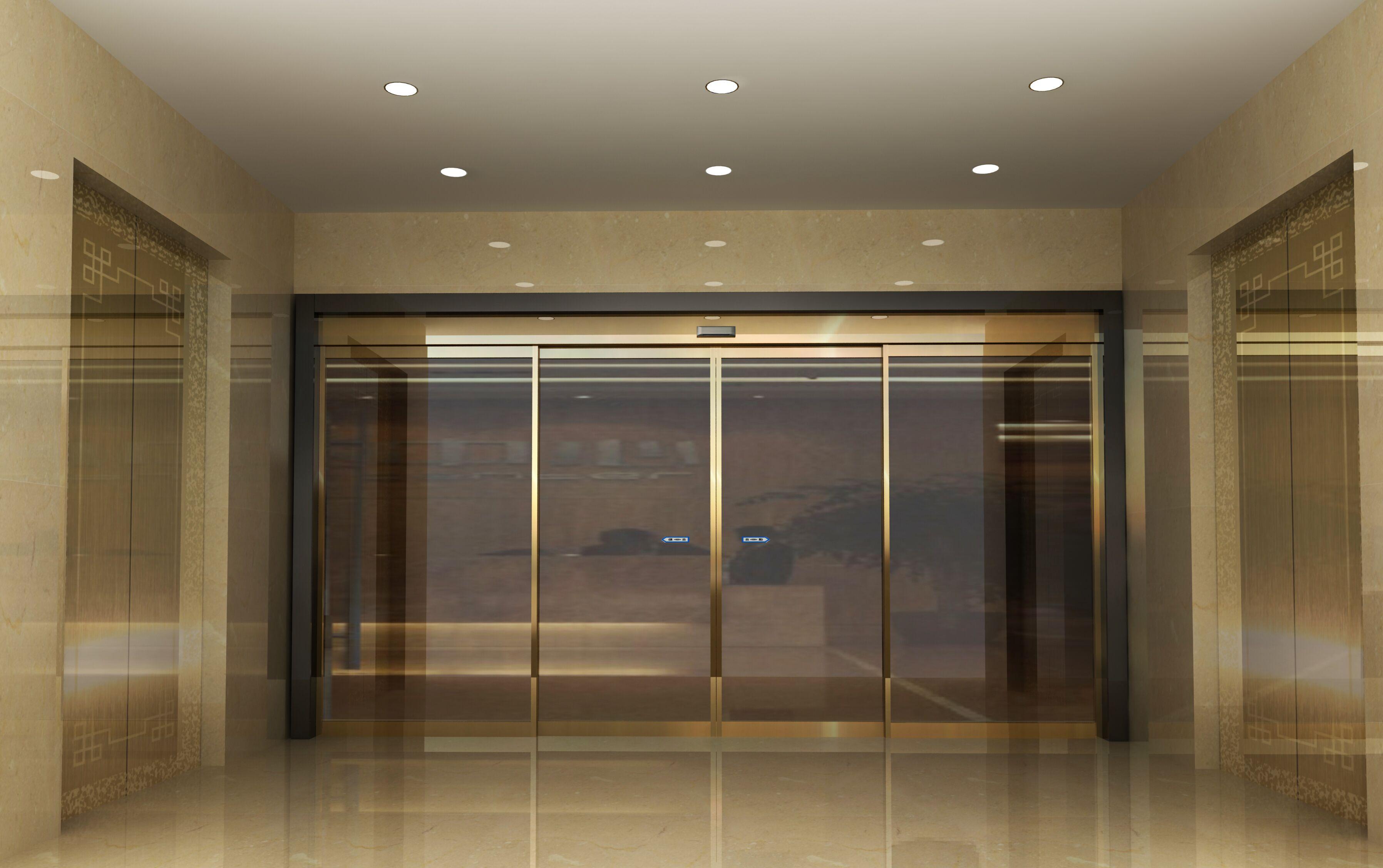 金色玻璃感应门 大气耐看 安全材质