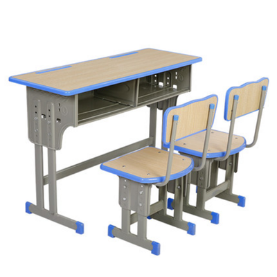 双人双柱外升降塑封多层板课桌椅