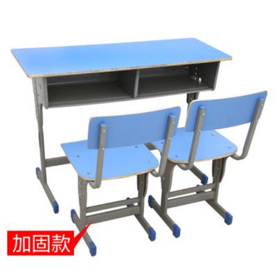 双人单柱外升降塑封多层板课桌椅