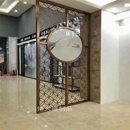 新中式艺术装饰不锈钢屏风隔断家庭酒店定制玫瑰金不锈钢花格屏风
