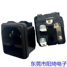 厂家供应C14插座品字型二合一卡式AC插座 带保险丝电源插座