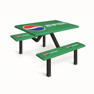 4位玻璃钢固定条凳餐桌