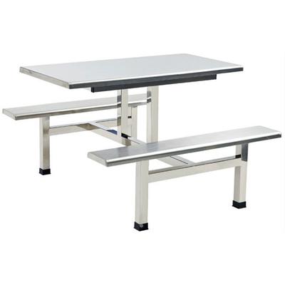 4位不锈钢固定条凳餐桌