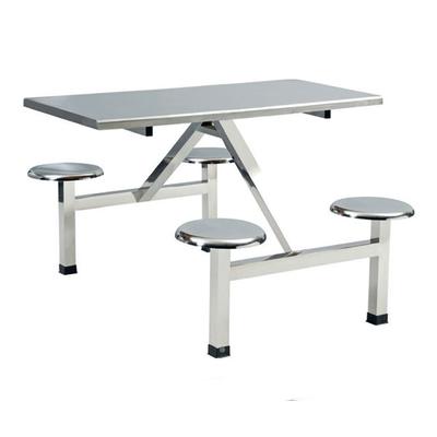 4位不锈钢固定圆凳餐桌