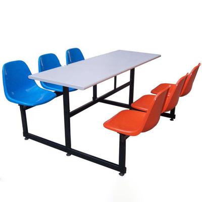 6位塑料固定椅餐桌