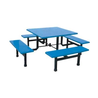 8位玻璃钢固定条凳餐桌