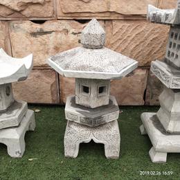 现货仿古石雕青石六角小地灯石头日式石灯笼景观摆件