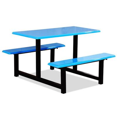 6位玻璃钢固定条凳餐桌