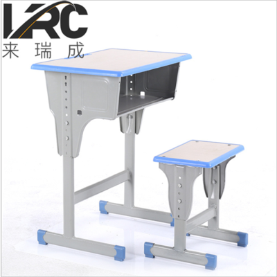 中小学生课桌单人单柱外升降课桌椅