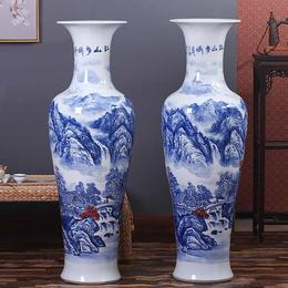 手绘青花山水大花瓶摆件 落地陶瓷大花瓶定制