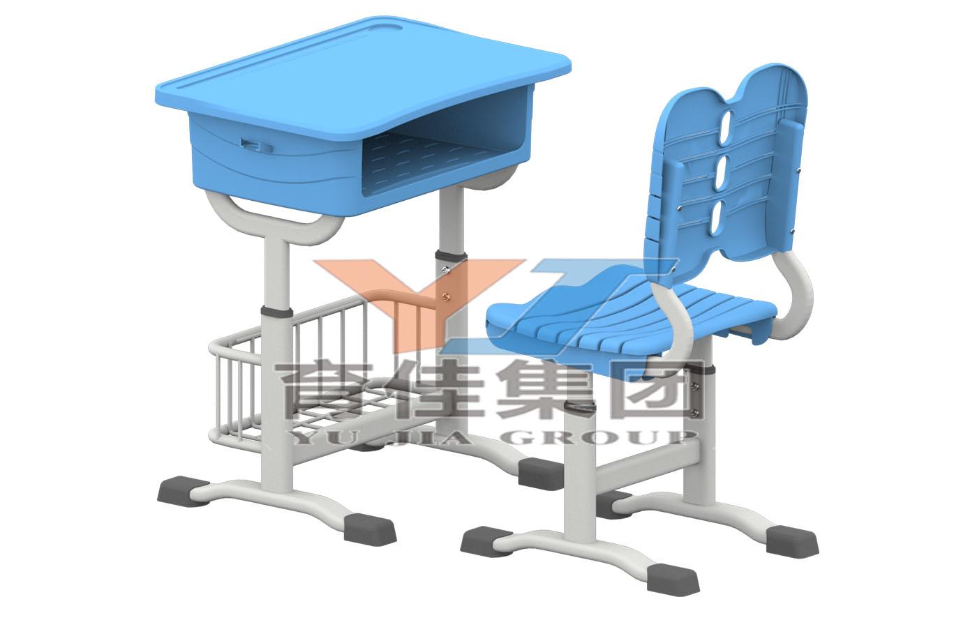 套管式升降塑料課桌椅(帶籃子)
