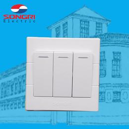 上海松日城建工程开关插座 居民楼盘墙壁开关插座三联单双控按钮